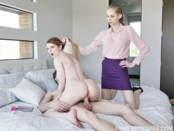 Naked babe Bunny Colby rides her stepbro's cock while their mom watches