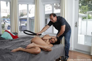 Maya Farrell spanked by stepdads belt